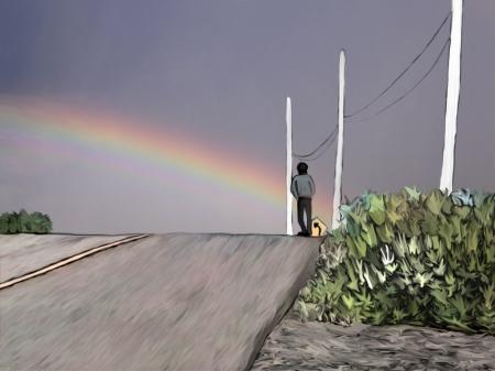 Arc en ciel sur la route
