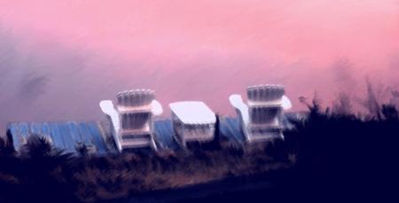 chaises du quai un matin d'automne